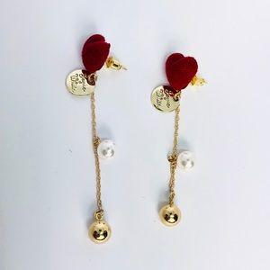 New! Red Heart Faux Pearl Dangle Earrings Gold